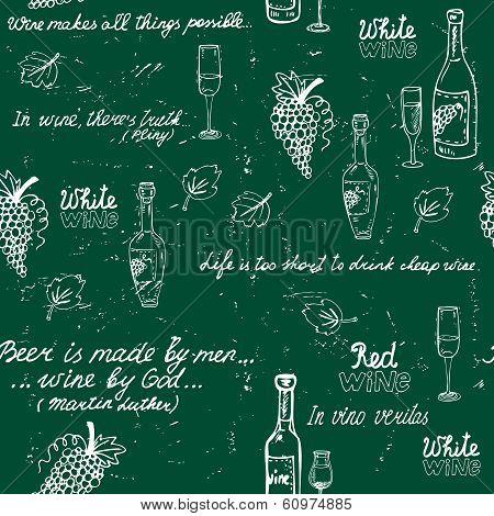 Seamless wine pattern chalkboard