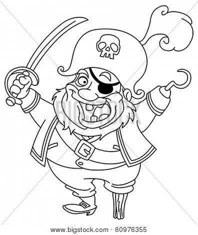 Outlined cartoon pirate. Vector illustration coloring page