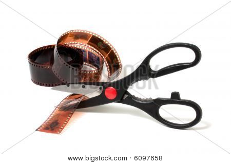 Scissors Cut Film Isolated On White Background