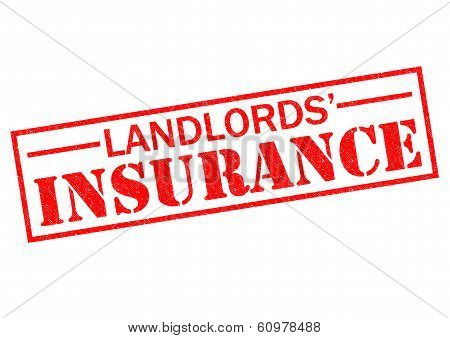 LANDLORDS' INSURANCE red Rubber Stamp over a white background. poster