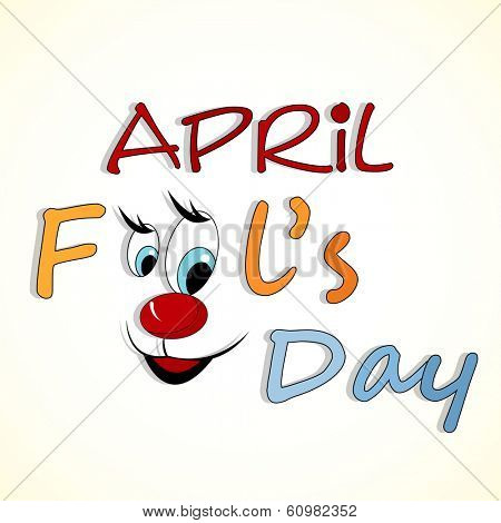 Happy Fool's Day funky concept with stylish text and funny face on abstract background.