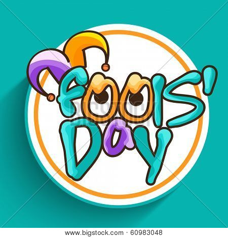 Happy Fool's Day funky concept with stylish text on abstract background.