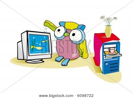 Owl and computer
