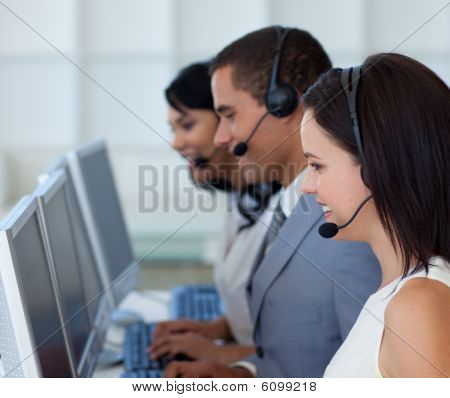 Attractive Businessman In A Call Canter