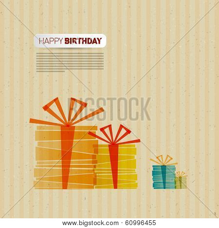 Retro Happy Birthday Theme, Present Boxes on Recycled Paper, Cardboard Paper Background