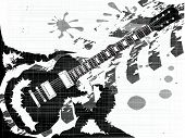 A rock guitar inergrated into a splatter type grunge backgound poster