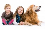 two happy  sisters  with her dog golden retriever in the studio. Isolated on white poster