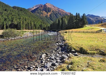 Headwaters Krimml waterfalls. The narrow stream flows between fields and pine forests. Bluish - green transparent water glows in the sun. Austrian Alps