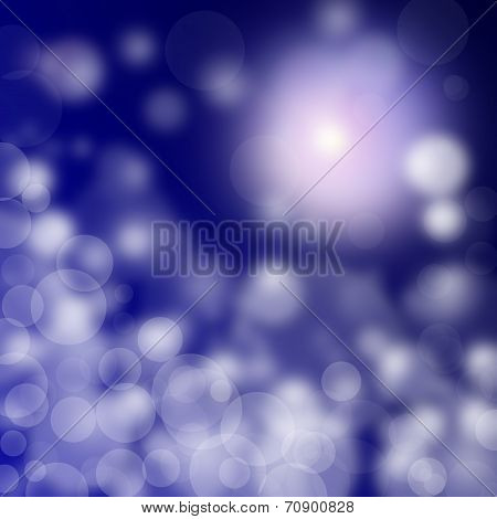 abstract blurry lights on blue background, holiday card. poster