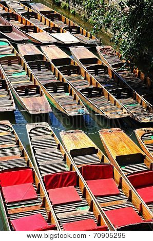 Punts moored on river Cherwell, Oxford.