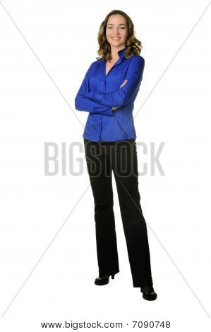 The Attractive Girl In Trousers And Dark Blue Shirt