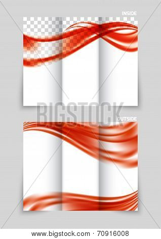 Tri-fold brochure design with red soft wave poster