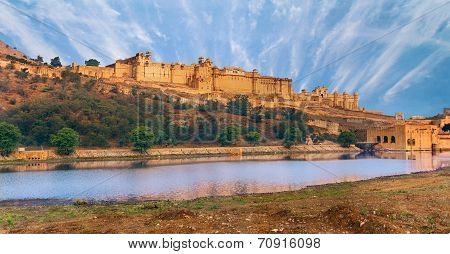poster of View of Amber fort over the lake, Jaipur, India