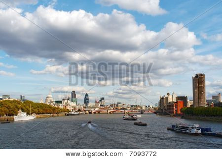Big Clouds Over River Thames