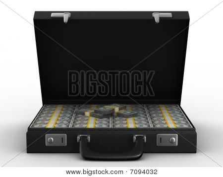 Case With Money On White Background. Isolated  3D Image