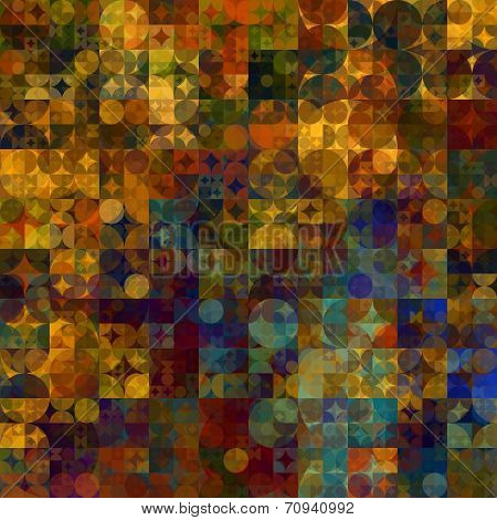 art abstract colorful geometric pattern; transparent background in gold, green, blue and brown colors