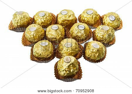 BANGKOK THAILAND - JULY 6 2014: Ferrero Rocher Chocolates on a white background
