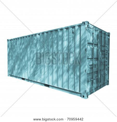 Shipping container used for cargo freight delivery by ship aircraft train truck - cool cyanotype poster
