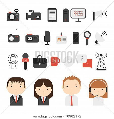 Set of flat colorful vector journalism icons. Mass media. Communication. Illustration consists of computer, news, reporter, camera, microphone, radio. Infographics design web elements. poster