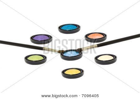 Eyeshadows With Brushes Isolated