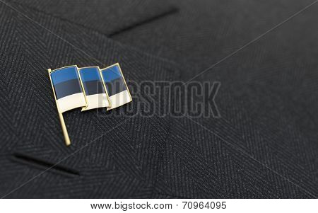 Estonia Flag Lapel Pin On The Collar Of A Business Suit