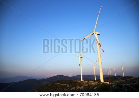 Wind Energy Turbines Are On The Mountain And Produce Cleanest Electric Energy