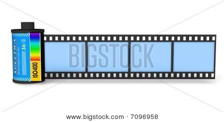 Canister with filmstrip