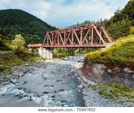 Railroad Trestle Over River, Carpathians