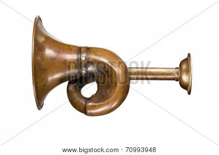 Vintage hunting horn, isolated on white background