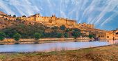 View of Amber fort over the lake, Jaipur, India poster