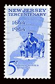 A 1964 issued 5 cent United States postage stamp showing  New Jersey Tercentennial. poster
