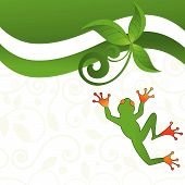 Stylized Tree Frog With Foliage And Pattern poster