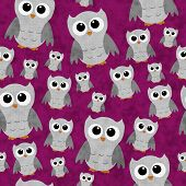 Gray Owls on Pink Textured Fabric Pattern Background that is seamless and repeats poster