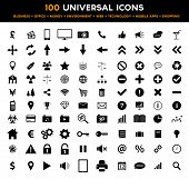 Collection of 100 universal black flat icons concerning business, web, technology, communication, connectivity, money and finance, environment and much more. poster