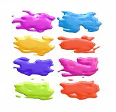 An illustration of 8 nice abstract color splashes poster