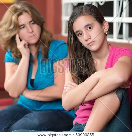 Teenager problems - Teenage girl ignoring her worried mother poster