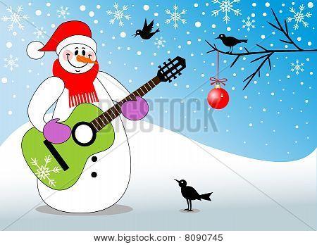 Snowman playing guitar