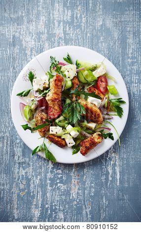 Mediterranean-style chicken salad with feta cheese