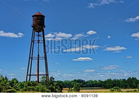 Abandoned Old Industrial Water Tower