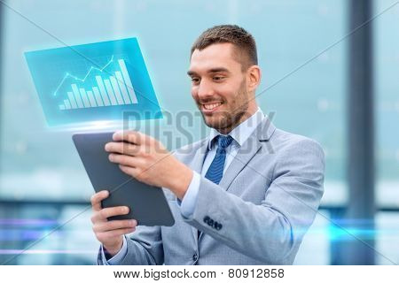 business, development, technology and people concept - smiling businessman working with tablet pc computer and virtual growth chart on city street