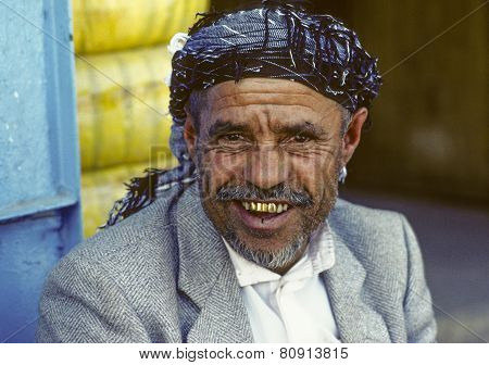 Portrait Of Old Smiling Man In Sanaa,