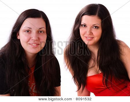 Woman Before And After Make-up.