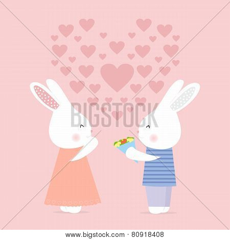 Cute bunny gives flowers, love card