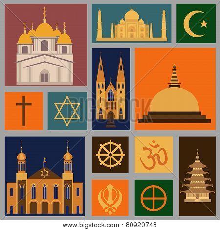 Religion icon set. Religious buildings.