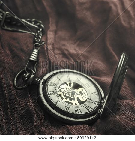 Vintage Pocket Watch On Fabric