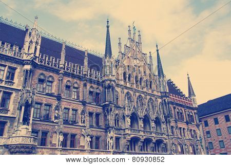 Facade of the famous Townhall  Munich