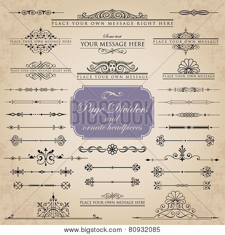 Large collection of page dividers and ornate headpieces