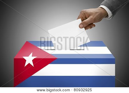 Ballot Box Painted Into National Flag Colors - Cuba