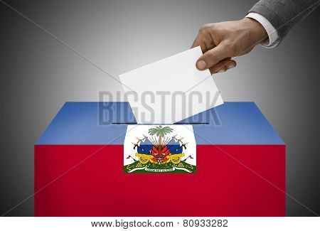 Ballot Box Painted Into National Flag Colors - Haiti