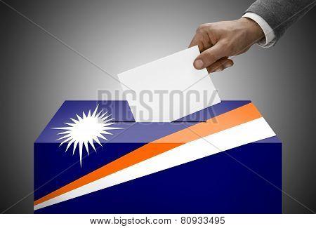 Ballot Box Painted Into National Flag Colors - Marshall Islands